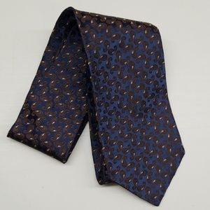 Jos A Bank Blue Brown Paisley Italian Silk Tie